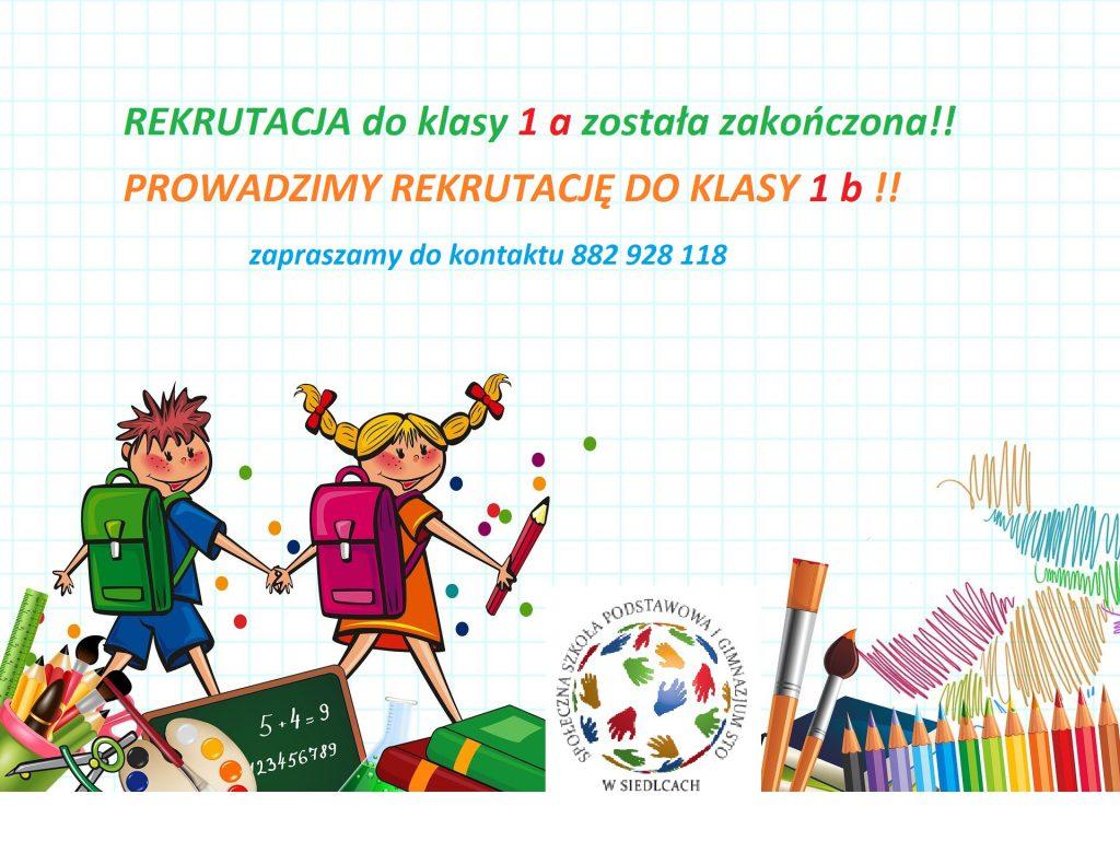 REKRUTACJA DO KLASY 1 B!!
